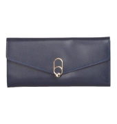 Envie Faux Leather Solid Blue Fold Over Magnetic Snap Closure  Clutch