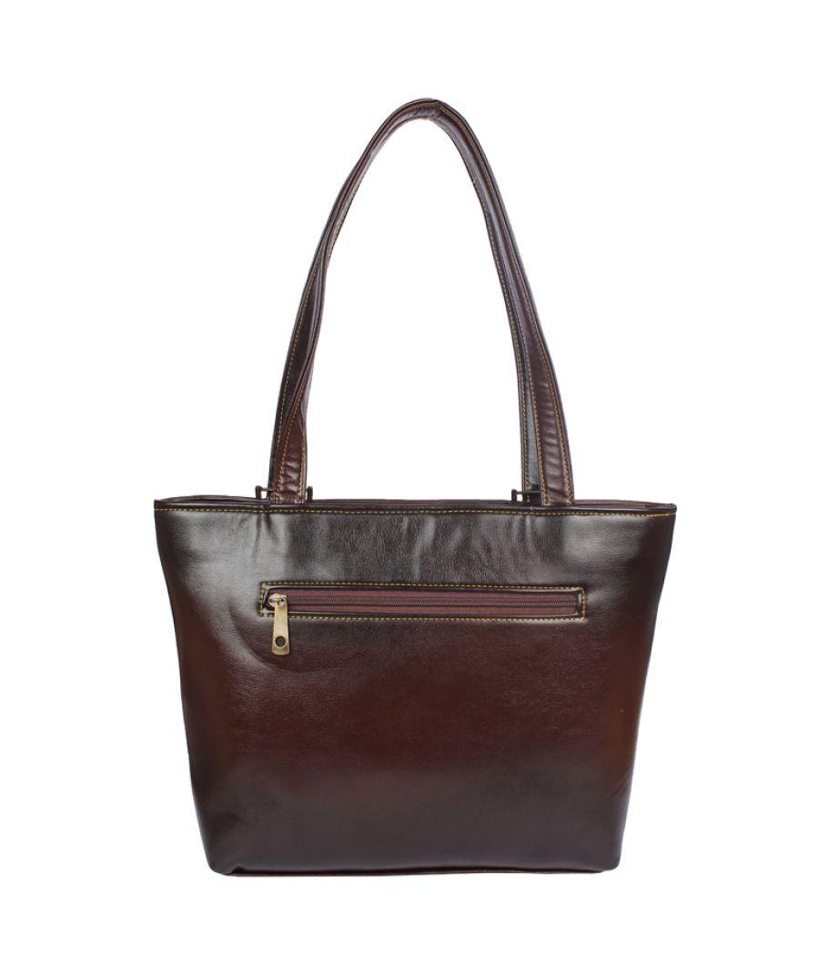 Aliado Faux   Leather Brown Coloured Zipper Closure Formal Handbag