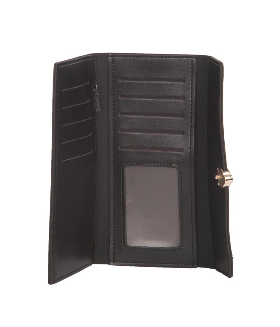 Envie Faux Leather Solid Black Fold Over Magnetic Snap Closure Clutch