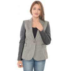 Zara Basic Grey Faux Leather Sleeves Blazer
