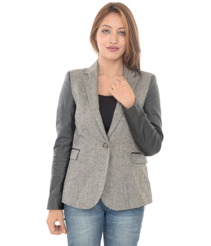 Zara Basic Grey Faux Leather Sleeves Blazer