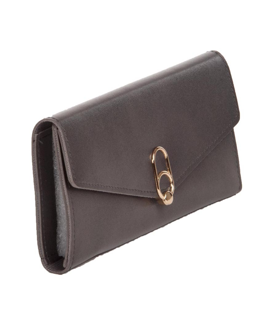 Envie Faux Leather Solid Grey Melnage Fold Over Magnetic Snap Clutch