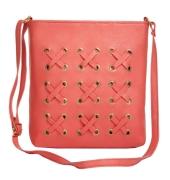 Envie Faux Leather Solid Peach Zipper Closure Crossbody   Bag