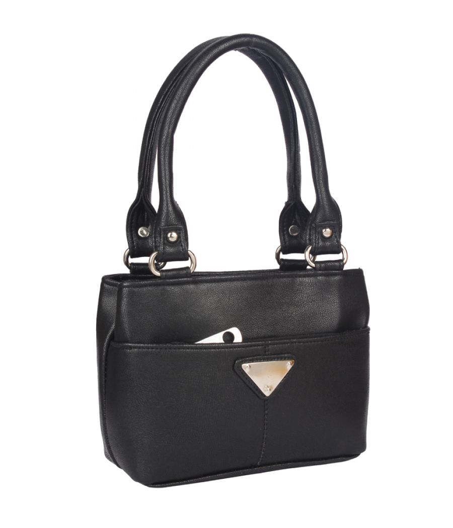 Aliado   Faux Leather Black Coloured Zipper Closure Formal Handbag