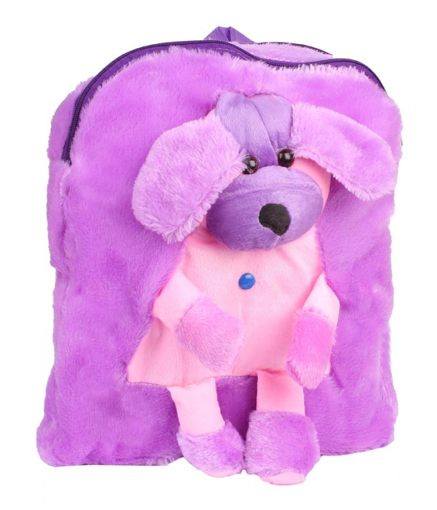 Envie Faux Fur   Purple  Coloured Zipper Closure Backpack