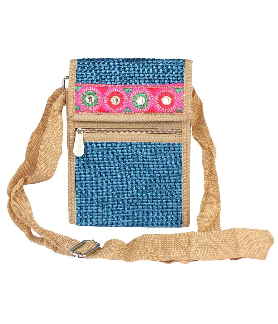 Aliado Jute Blue Coloured Velcro Closure Sling Bag
