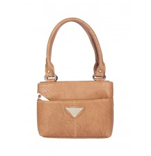 Aliado Faux  Leather Camel Coloure Zipper Closure Handbag