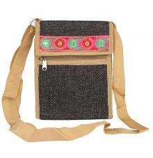 Aliado Jute Black Coloured Velcro Closure Sling Bag