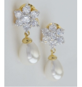 Golden Earrings With Pearl Hanging