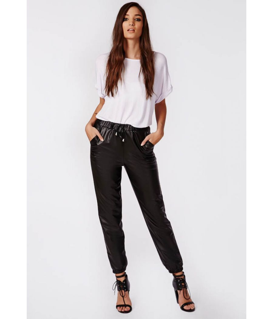 Topshop Faux Leather Black Trousers