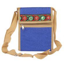 Aliado Jute Blue Coloured Velcro Closure Sling Bag