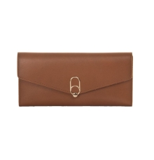 Envie Faux Leather Solid Brown Magnetic Snap   Clutch