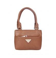 Aliado   Faux Leather Coffee Brown Zipper Closure Formal Handbag