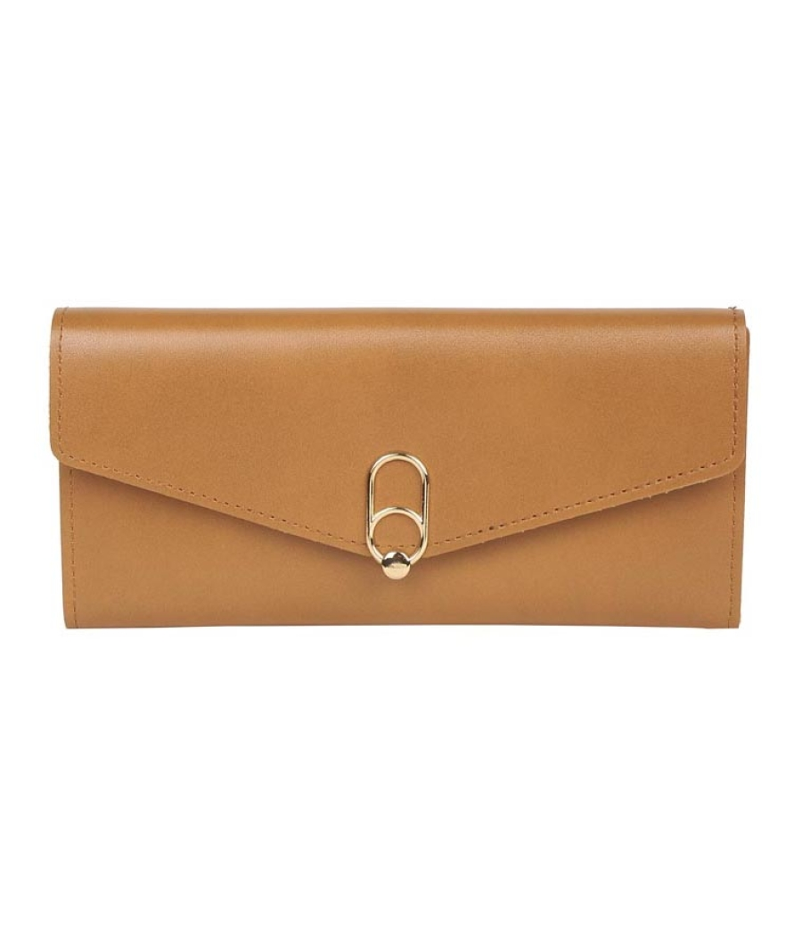 Envie Faux Leather Solid Light Brown Magnetic Snap     Clutch
