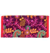 Aliado Velvet Purple   and Multi  Coloured Magnetic Closure Clutch