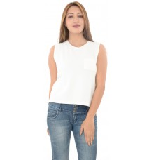 Mango Casual White Front Pocket Top