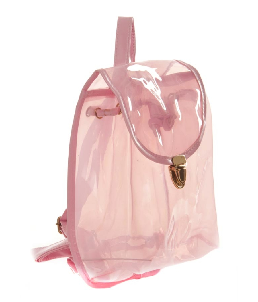 Aliado PVC Solid Pink Tuck Lock Stylish Backpack Combo