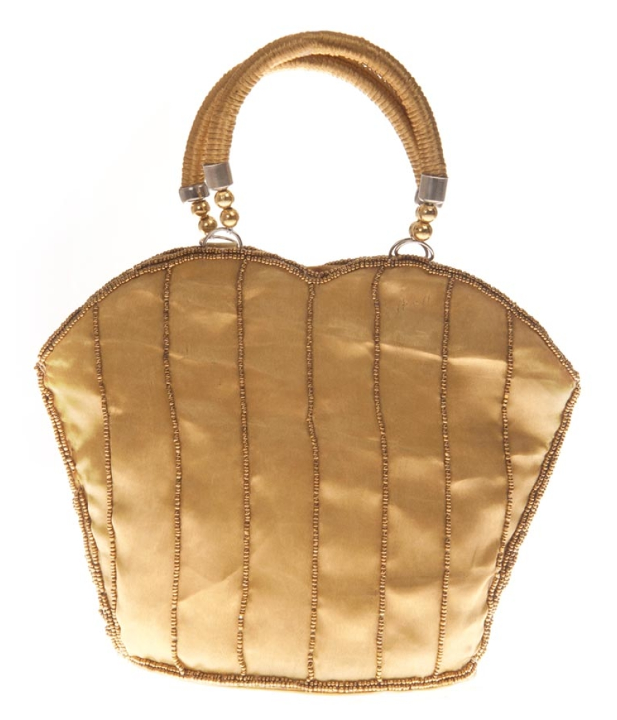 Envie Faux Leather Sequined Green & Gold Zipper Closure Tote Bag