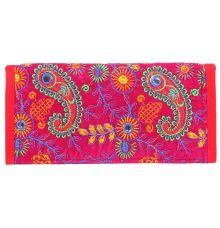 Aliado Velvet Pink and Multi  Coloured Magnetic Closure Clutch