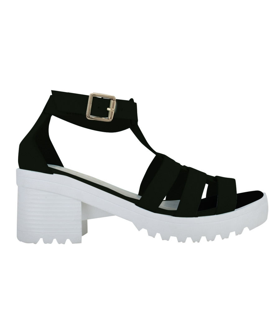 Estatos Faux Leather Block Heel Platform White Sole Strappy Black Gladiator Sandals for Women