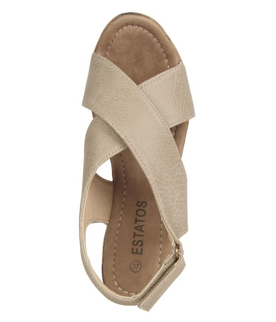 Estatos PU  Beige Coloured Open Toe Buckle Closure Platform Wedges