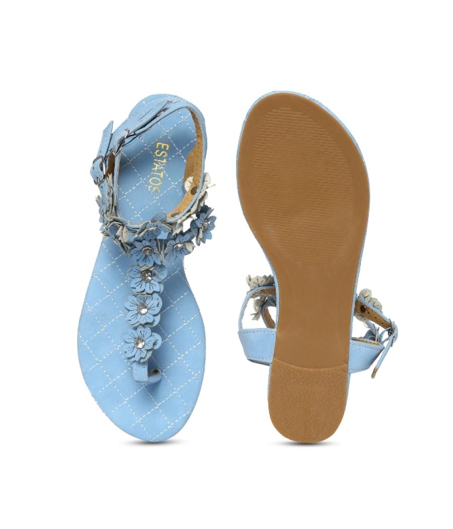 Estatos Blue Open Toe Ankle Strap Buckle Closure Casual Flat Sandals