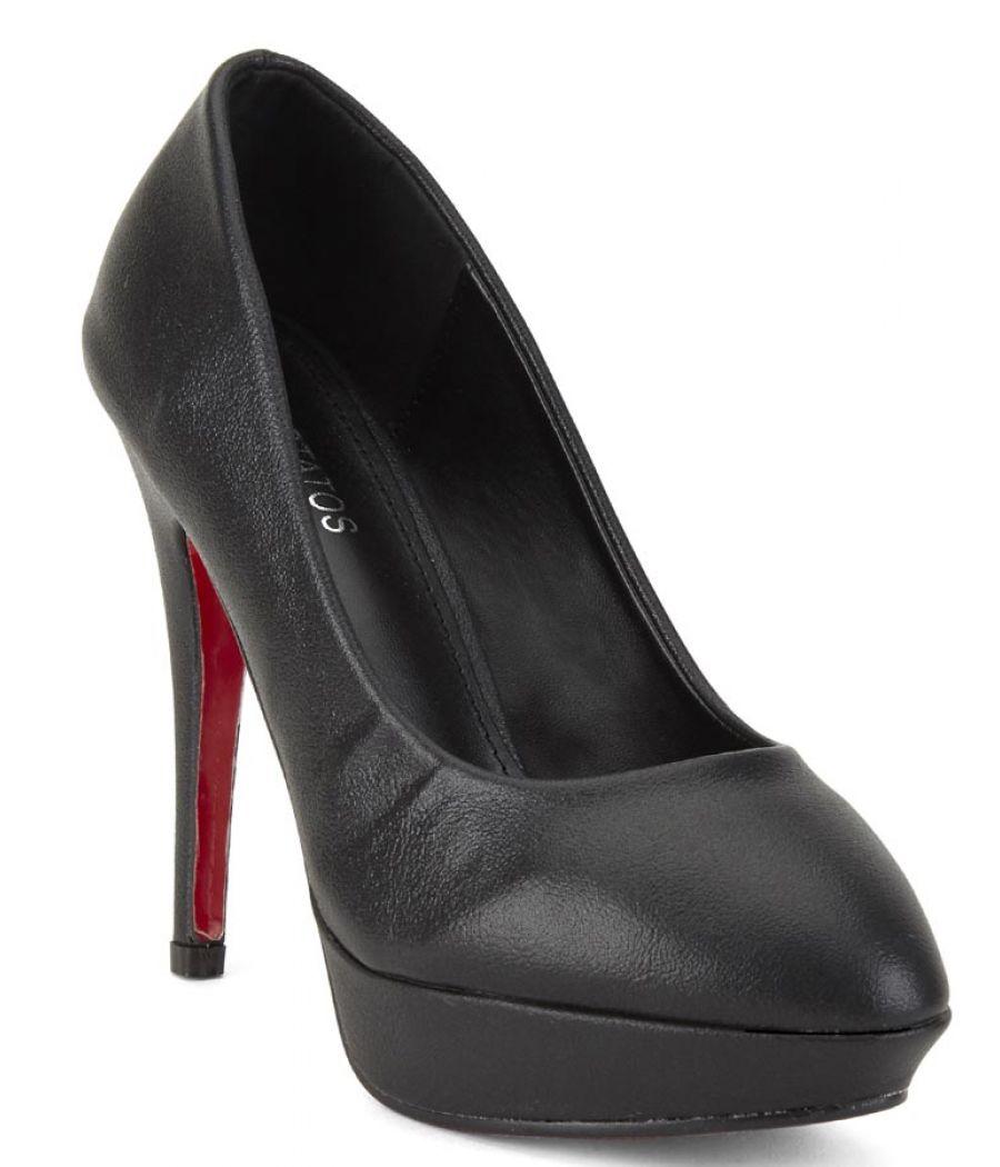 Estatos Synthetic Leather Pointed Heeled    Black Stilletos