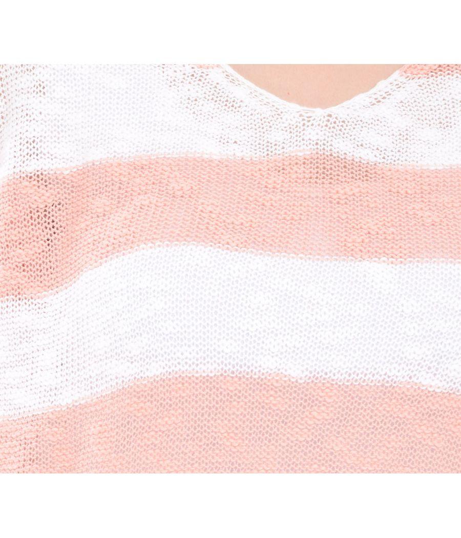 Estance Cotton Knitted Half Sleeves Orange/White Sweater