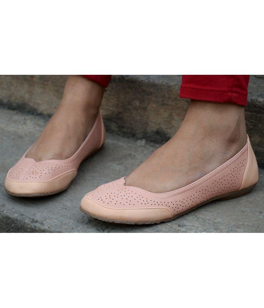 Estatos Perforated Leather Cut work Platform Heeled Beige/Peach bellerina/shoes