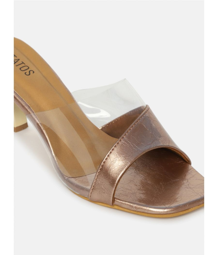 Estatos Synthetic Leather Pointed Heeled Sandals
