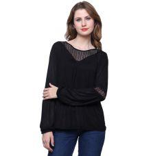 Estance Hosiery Solid Black Casual Top