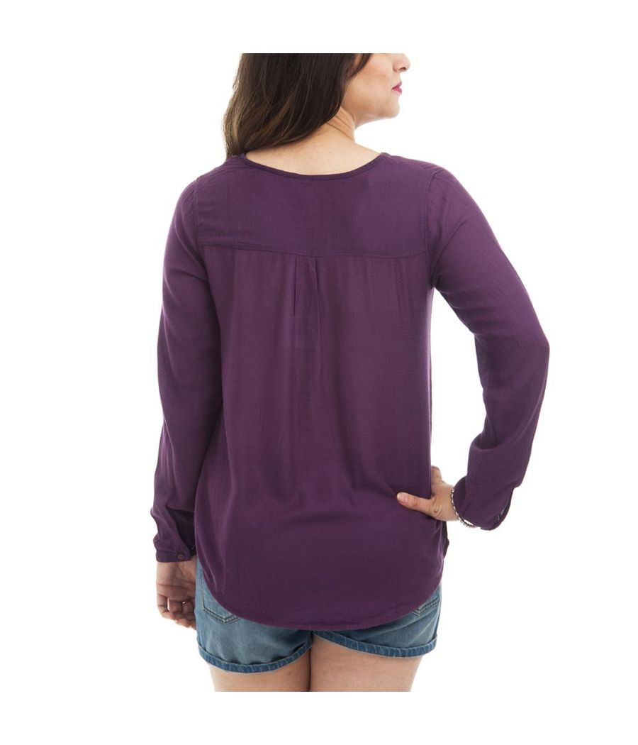 Femi Forever Crepe Plain Solid Round Neck Button Closure Long Sleeves Casual Top