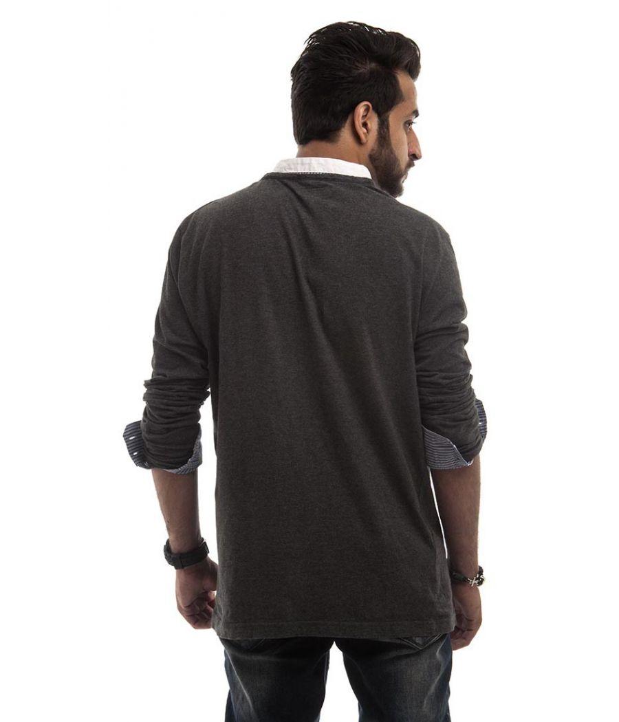 Zara Cotton Plain Striped Grey, Blue & White Full Sleeved Casual T-shirt