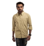 Flying Machine Cotton Plain Beige Neck Collar Button Closure Casual Shirt