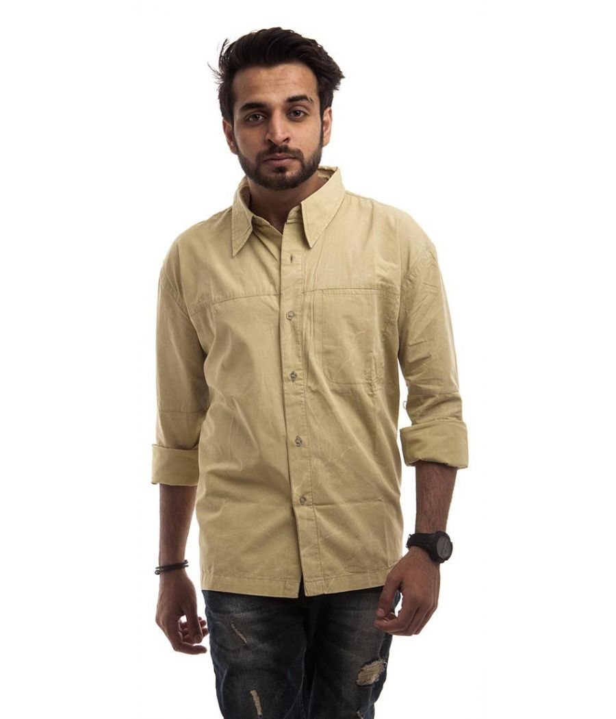 Flying Machine Cotton Plain Beige Neck Collar Button Closure Casual Shirt
