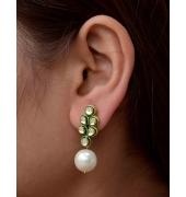 Pearl Drop Green Earrings