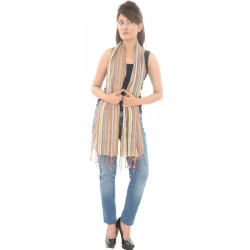 Cotton Blend Stripe Print Multi Stole