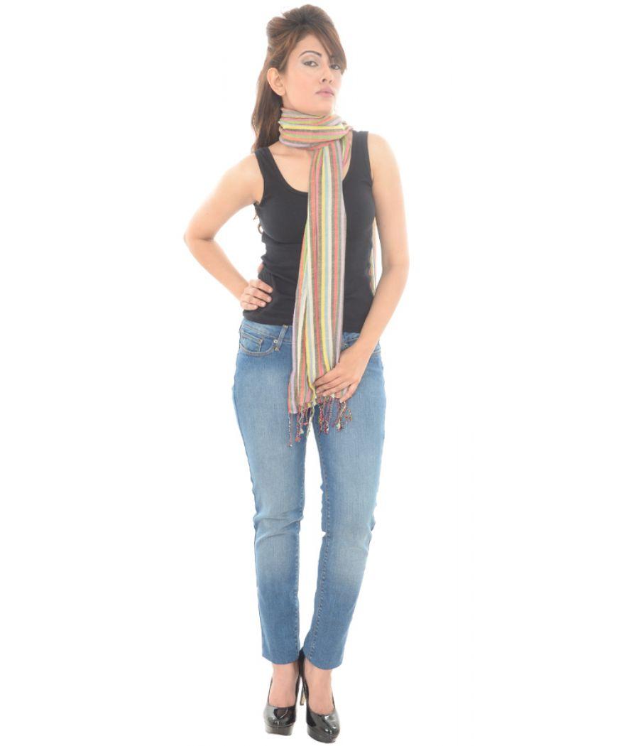 Cotton Blend Stripe Print Multi Stole