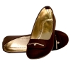 Rudra Collection Synthetic Leather Brown Broad Toe Flat Bellies