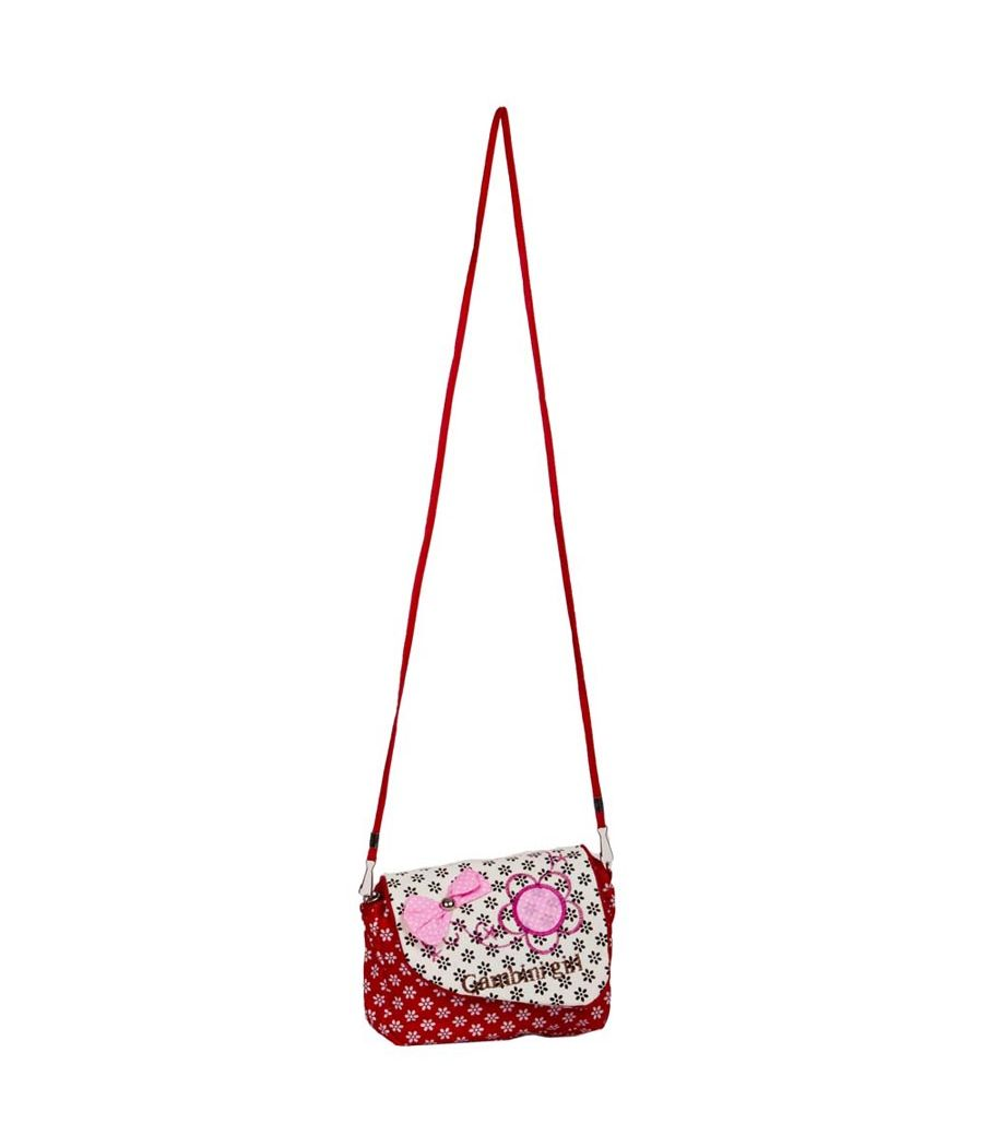 Envie Printed Red & White Zipper Closure Sling Bag