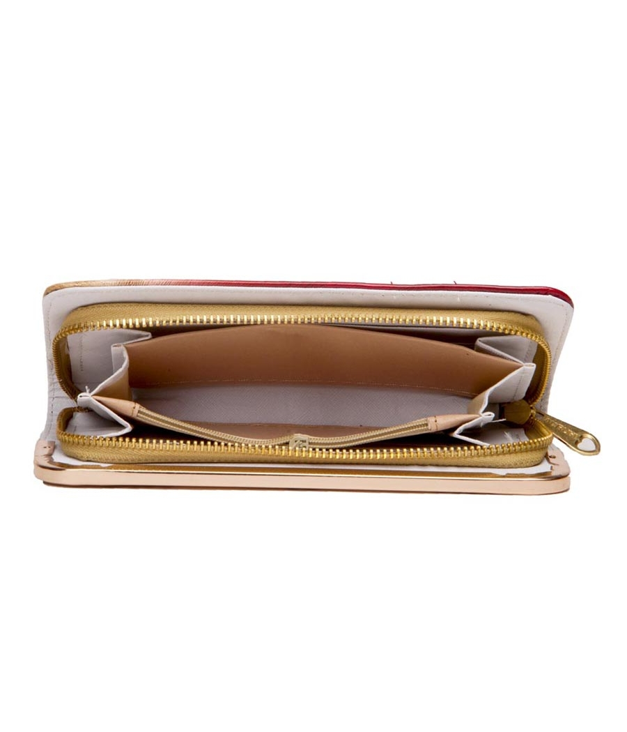 Envie Faux Leather Red Zipper Closure Embellished Clucth