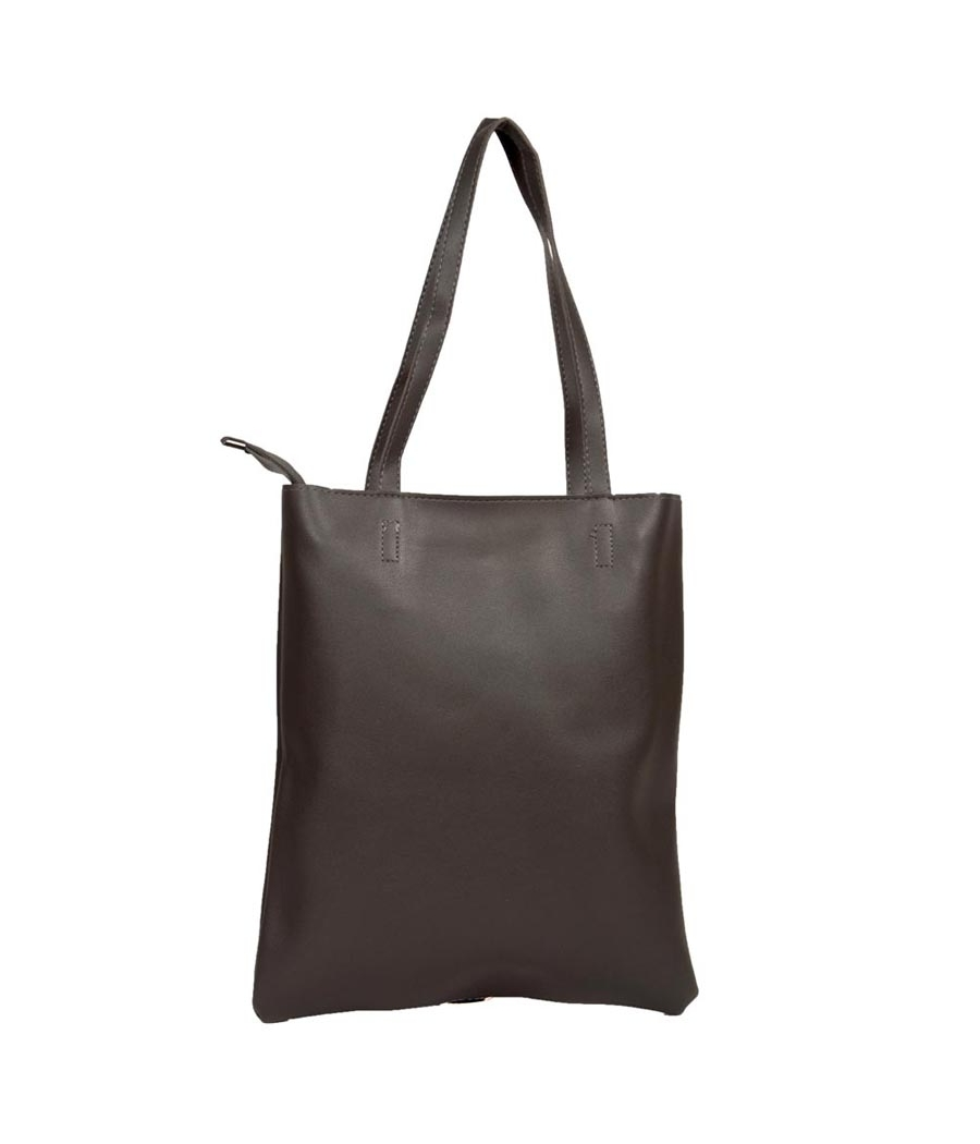 Envie Faux Leather Coffee Brown Coloured Zipper Closure Tote Bag