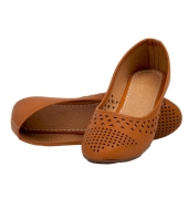 SLN Synthetic Leather Brown Coloured Broad Toe Casual Bellies