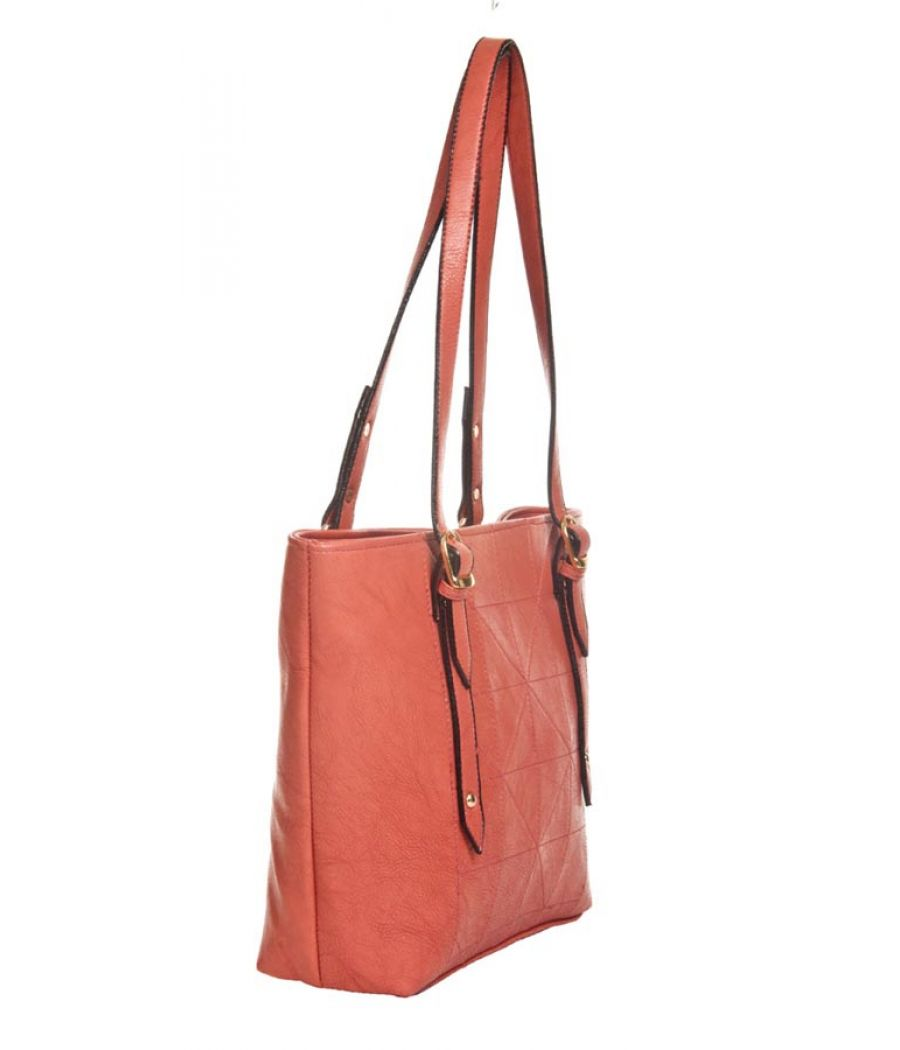 Aliado Faux Leather Solid Peach Zipper Closure Handbag