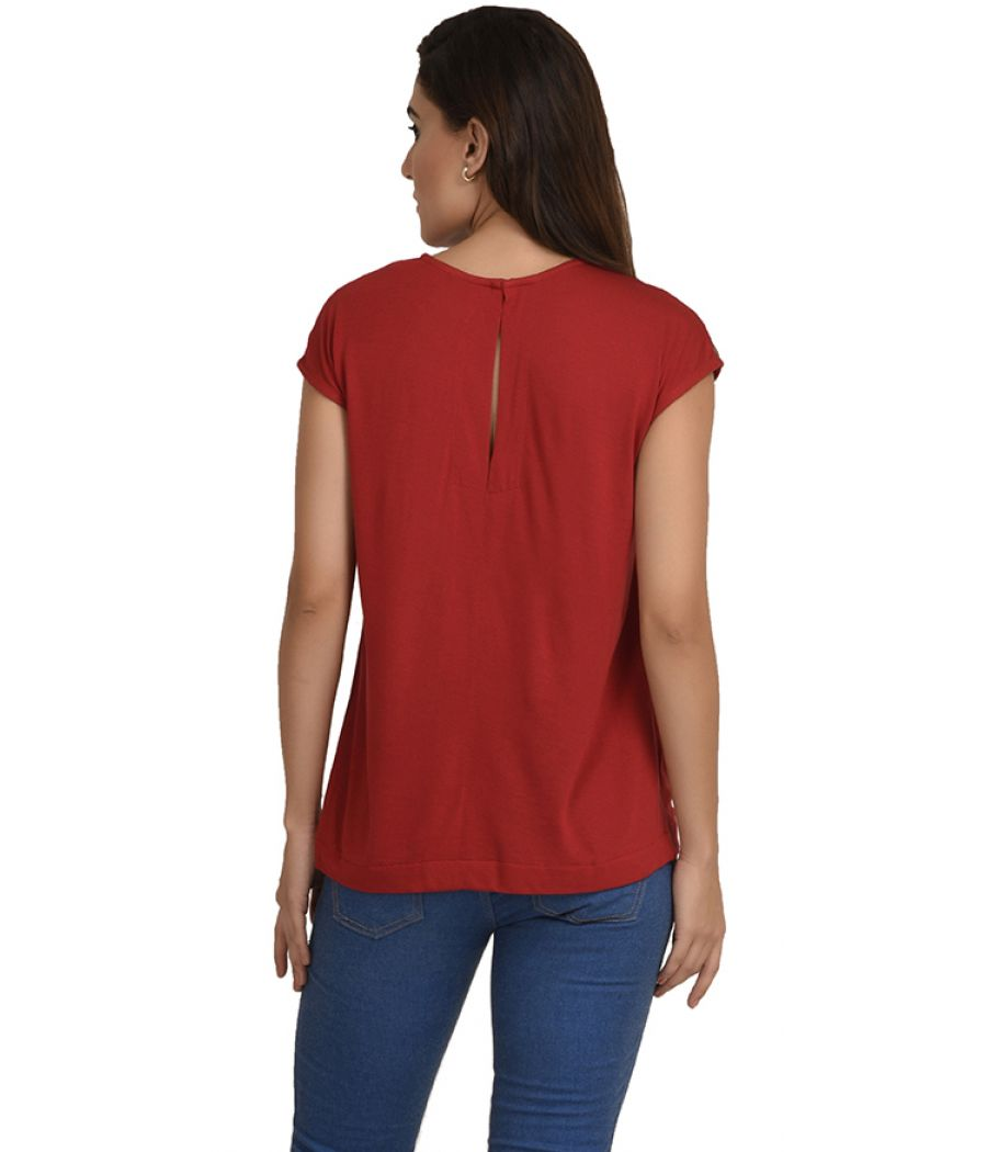 Estance Jersey Solid Gathered Maroon Top