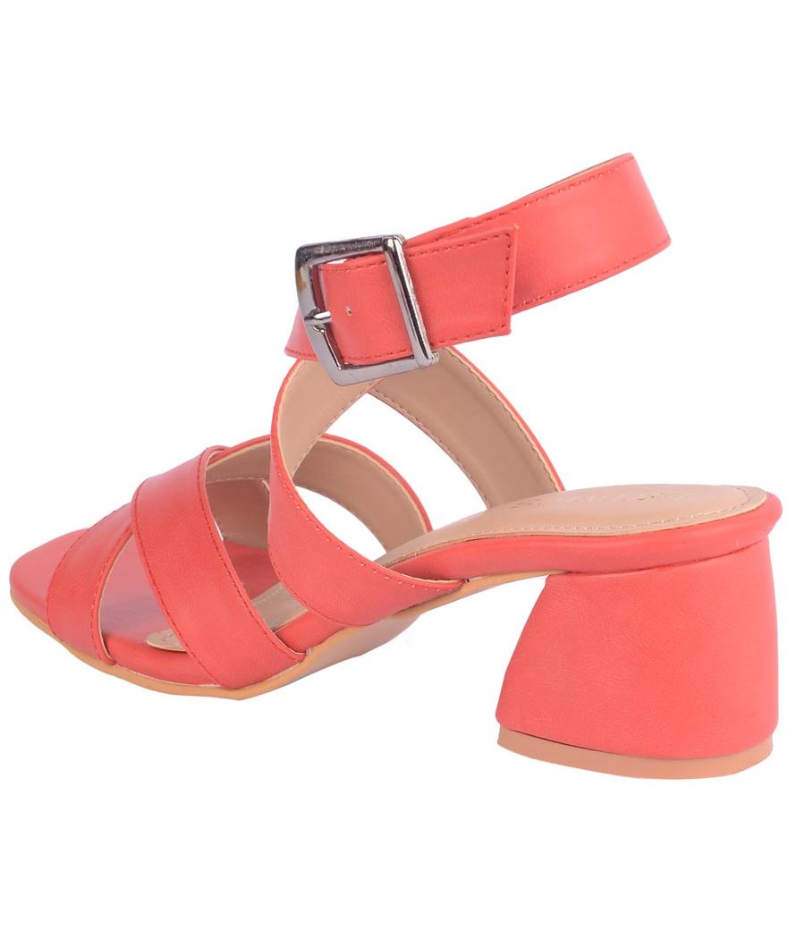 Estatos Synthetic Leather Buckle Closure Cross           Strap Red Sandals