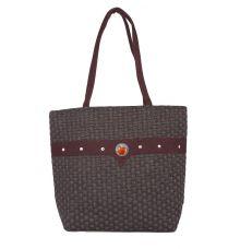 Aliado Jute Black and Coffee Brown  Coloured Zipper Closure Bag