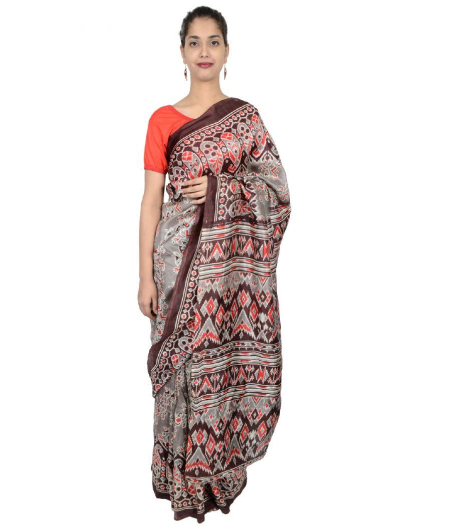 Etashee Certified Pure Silk Saree with Ikkat Weaving