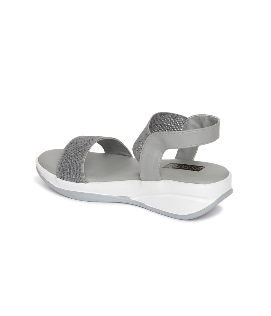 Estatos PU Grey Coloured Buckle Closure Open Toe Wedges