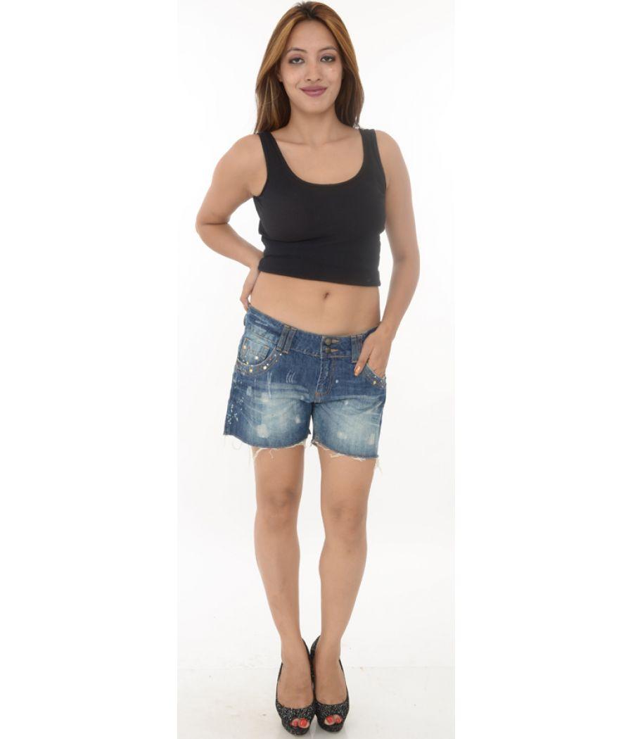 Denim Co Blue Raw Edge Denim Shorts